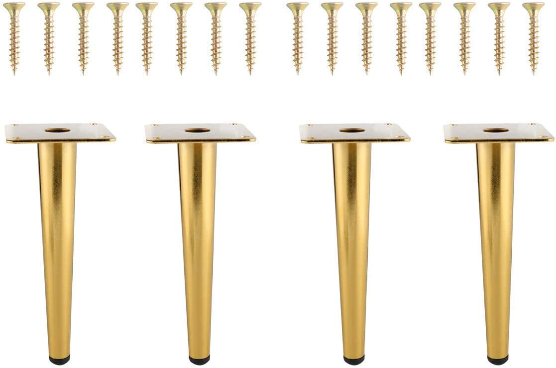 NATGAI 4Pcs 8Inch Golden Furniture Cabinet Metal Legs Round Tapered Leg DIY Furnitur Sofa Table Bed Shoe Cabinet Desk Legs (Non Bevel Leg(20CM))