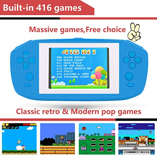 Beico Handheld Games for Kids Adults 3.5'' Large Screen Built in 416 Classic Retro Video Games Seniors Electronic Games Consoles Birthday Present (Blue) by Beico (Image #2)