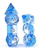 Polyhedral Dice Set D&D Gaming Dice – Blue Aurora Transparent Gradients Dice for Dungeons and Dragons MTG RPG Role Playing Table Game including Pouch