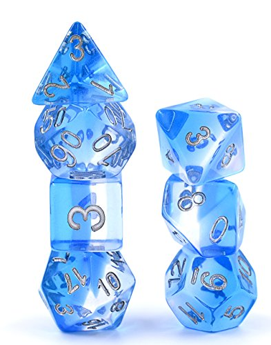 Polyhedral Dice Set D&D Gaming Dice - Blue Aurora Transparent Gradients Dice for Dungeons and Dragons MTG RPG Role Playing Table Game including Pouch