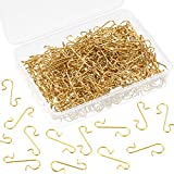 Tatuo Xmas Ornament Hooks Metal Wire Hooks Ornament Hangers with Storage Box for Christmas Tree Decoration (201, Gold)
