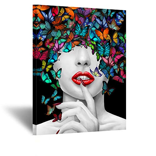 Kreative Arts Exclusive Original Design Canvas Prints Butterfly Dreams Woman Wall Art Home Contemporary Painting Abstract Posters and Prints for Girls Room Wall Decorations Ready to Hang 24x32inch