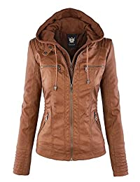 LL WJC663 Womens Removable Hoodie Motorcyle Jacket M CAMEL