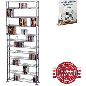 GT DVD Storage Rack Metal Wire Holder Media Stand Room Display Tower Adjustable Shelf Organizer Large  sc 1 st  Amazon.com & Amazon.com: GT DVD Storage Rack Metal Wire Holder Media Stand Room ...