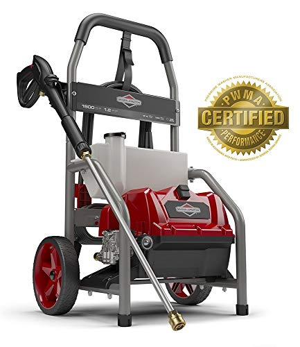 - Briggs & Stratton 20680 Electric Pressure Washer 1800 PSI 1.2 GPM with 20-Foot High Pressure Hose, Turbo Nozzle & Detergent Tank (Certified Refurbished)