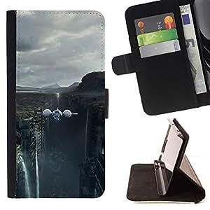 For HTC One A9 Case , Naturaleza Hermosa Forrest Verde 87- la tarjeta de Crédito Slots PU Funda de cuero Monedero caso cubierta de piel