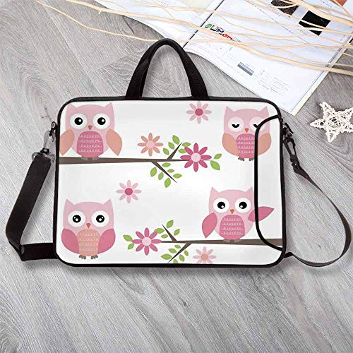 Owls Home Decor Waterproof Neoprene Laptop Bag,Cute Baby Owls Waving in The Floral Tree Springtime Artful Girly Design Print Laptop Bag for Business Casual or School,17.3
