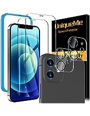 [4 sztuki] UniqueMe kompatybilny z iPhone 12 (6,1 cala) [2 sztuki] Szkło hartowane i [2 sztuki] Ochraniacz obiektywu aparatu, [Bez pęcherzyków powietrza] [Czułość na dotyk] HD Clear maksymalne pokrycie ekranu