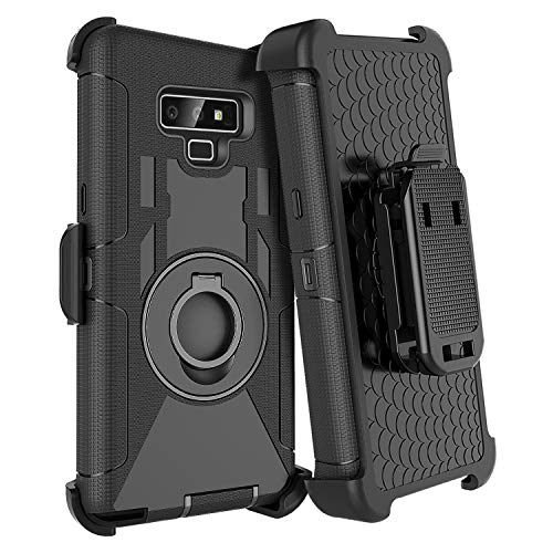 Casewind Belt Case for Note 9,Note 9 Case for Men,Full Body Heavy Duty Defender Rugged Protective Phone Case with Swivel Belt Clip and Kickstand for Samsung Galaxy Note 9 6.4'' inch, (Black)