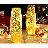 MSB Illuminated Mercury Crackle Glass LED Vase Christmas Lighting Lamp Decoration