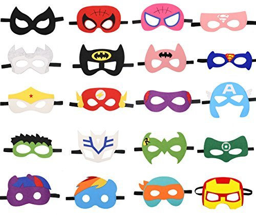 (HAMMERHIT Superhero Felt Masks 20 pcs Cosplay Character Soft Mask Party Favor Supplies for Kids Boys or)