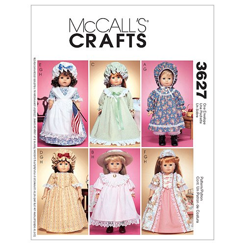 Amazon.com: McCall\'s Patterns M3627 18-Inch Doll Clothes, One Size ...