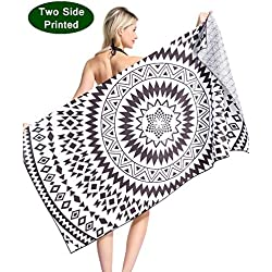 Mandala Microfiber Pool Beach Towel - Quick Fast Dry Sand Free Proof Oversized Extra large Big Outdoor Travel Rack Swim Micro Fiber Blanket Thin Yoga Mat Personalized Women Adults Body Black White
