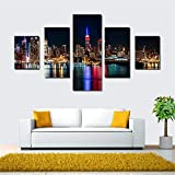BFY Frameless Huge Wall Art Oil Painting On Canvas City Night View Home Decor