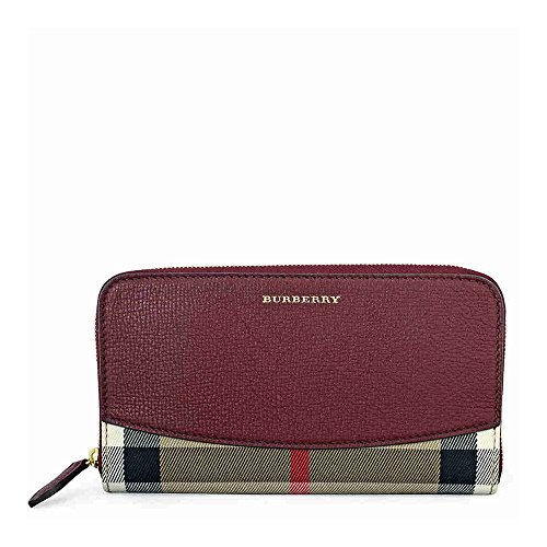 Burberry-House-Check-Leather-Zip-Around-Wallet-Mahogany-Red