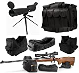 25-75x75 Sniper Spotter Hunting Rubber Armored Spotting Scope + Tripod + Sunshade + QD Shooting Rifle Shotgun & Muzzle Loader Steady Shooter Support Bag Set + Range Bag with Magazine Ammo Pouches