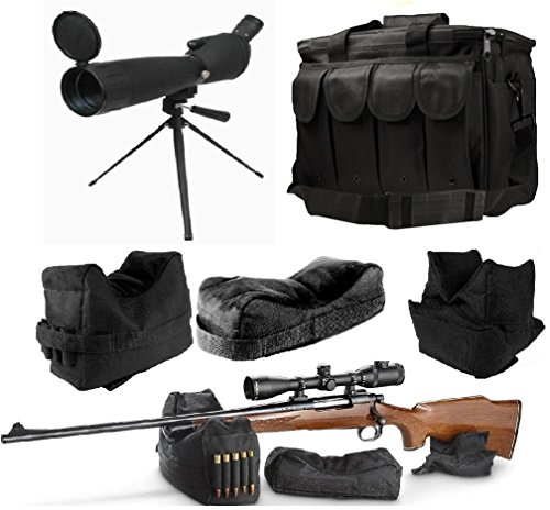 25-75x75 Sniper Spotter Hunting Rubber Armored Spotting Scope + Tripod + Sunshade + QD Shooting Rifle Shotgun & Muzzle Loader Steady Shooter Support Bag Set + Range Bag with Magazine Ammo Pouches by Ultimate Arms Gear