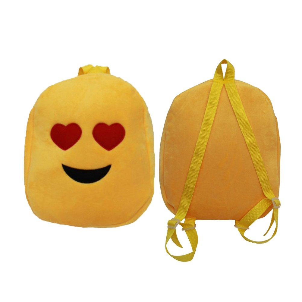 STOBOK Cute Backpack Heart Eye Face School Bags Cartoon Plush Backpack Daypack for Kids Children Toddler