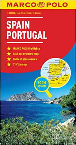 Map Of Spain Coast.Spain Portugal Marco Polo Map Marco Polo Maps Amazon Co Uk