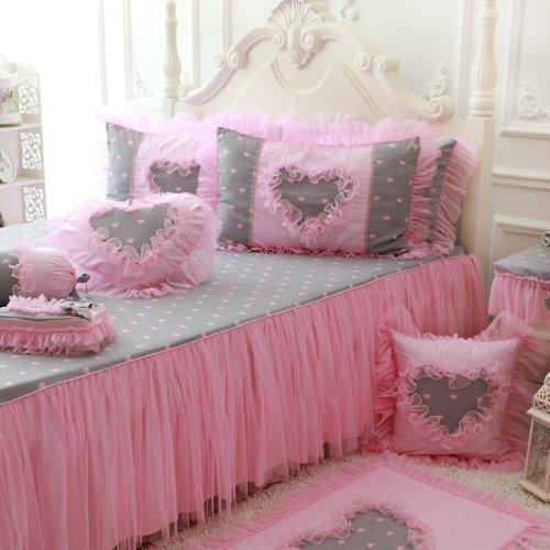 FADFAY Home Textile,New 2014,Korean Pink Sweet Heart Print Bedding Set,Cute Girls Pink Polka Dot Bedding Sets
