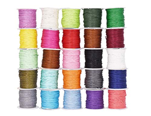 Mandala Crafts 1mm Jewelry Making Crafting Beading Macramé Waxed Cotton Cord Thread (25 Assorted Colors) ()