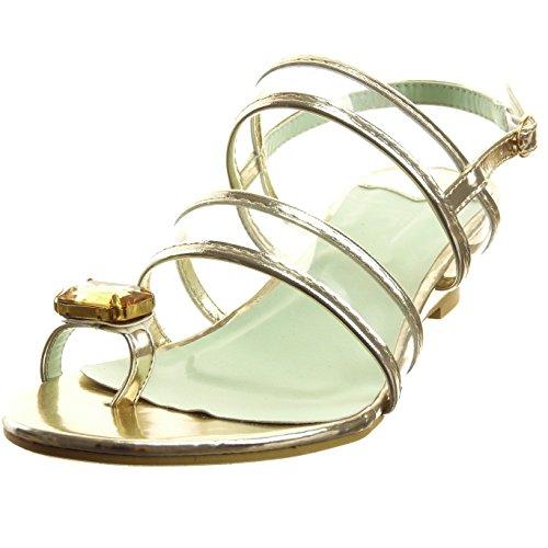 Sopily - Chaussure Mode Sandale Ouverte Cheville femmes Bijoux boucle Talon compensé 4 CM - Or