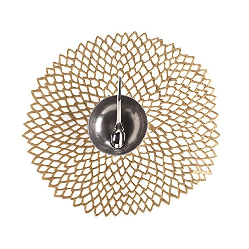 Chilewich Dahlia Round Floral Placemat, 14.25 By 15.25-inch, Set of 4 (Brass)