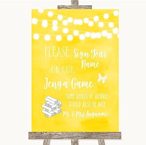 Letrero de boda personalizable, diseño de jenga, color amarillo, color amarillo Medium A4 PRINT ONLY: Amazon.es: Oficina y papelería