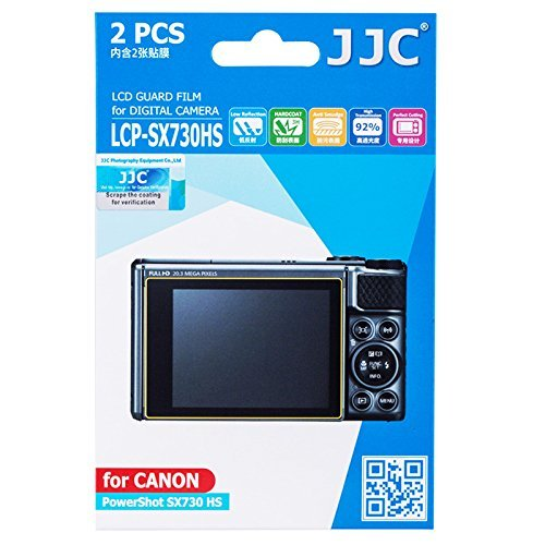 JJC LCP-SX730HS 2PCS Clear LCD Guard PET Film Screen Protector for Canon Powershot SX730 HS, Low Reflection/Anti-Smudge/High Transmission