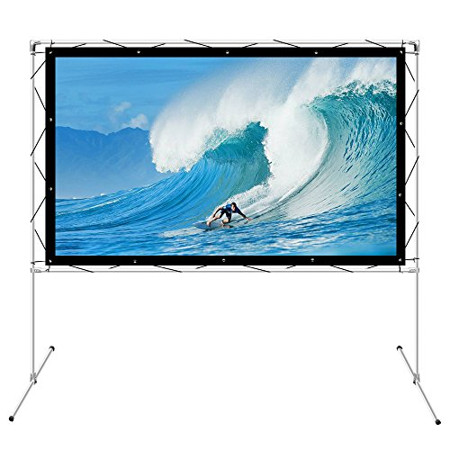 Projector Screen with Stand for Outdoor Indoor Foldable Portable Front Movie Screen 3D 4K 100inch 16:9 Transportable Full Set Bag