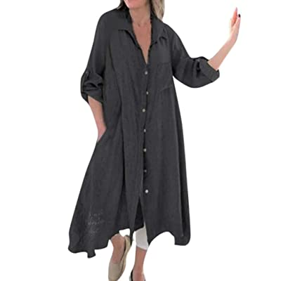 Fitfulvan Women's Button Cardigan Blouse Pocket Long Sleeve Casual Irregular Hem Maxi Dress: Clothing