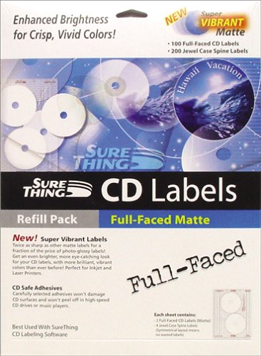 Surething Full Faced Matte  Cd Label Ref  Win 95 98