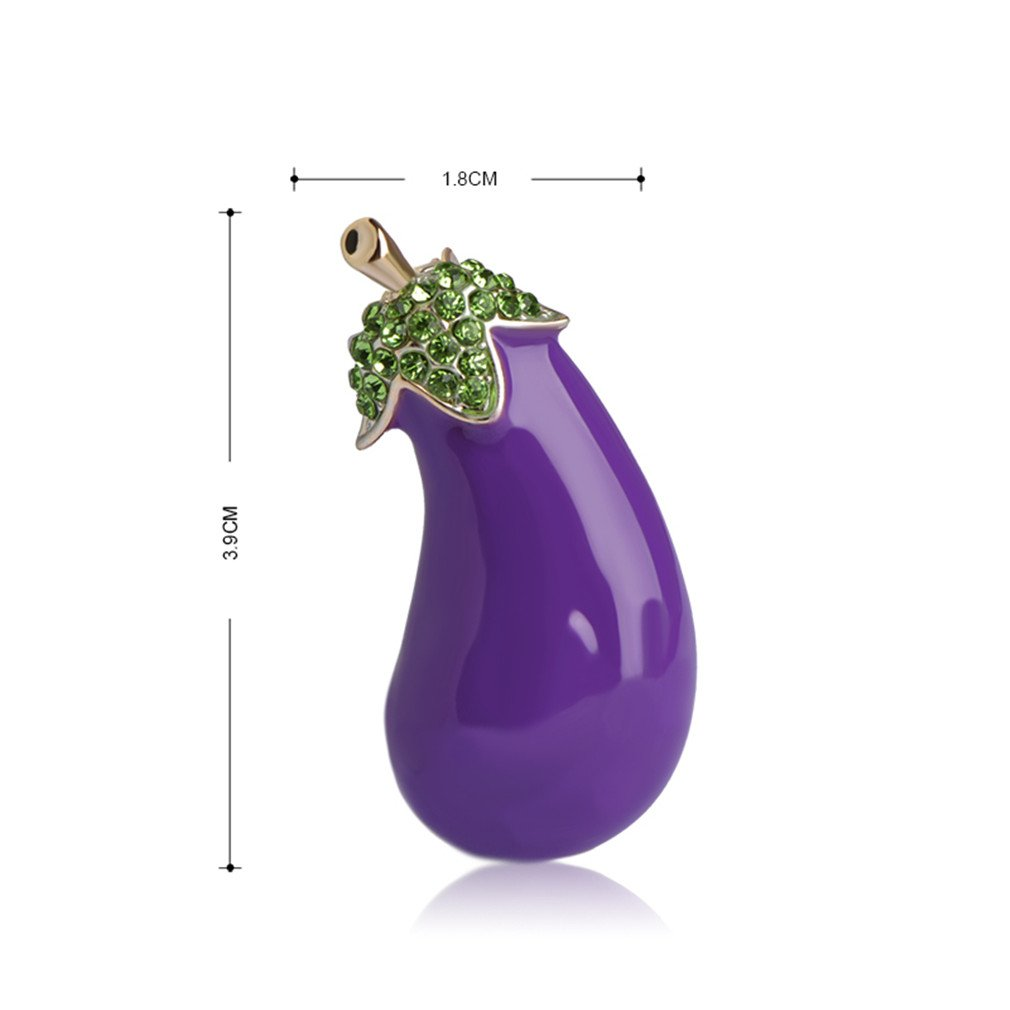 Astral Purple Plant Vegetables Eggplant Brooch Gold-Color Alloy Enamel Brooches For Suit Scarf Collar Accessories Clips Jewelry purple by Astral (Image #2)