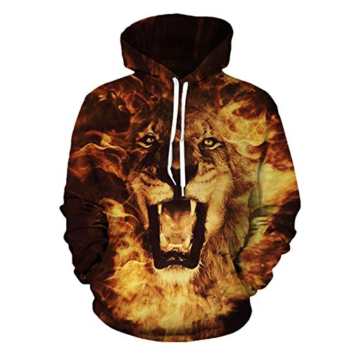 3D Hoodie,Digital Print Couple with Pocket Baseball Costume Flame Lion, XL