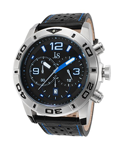 Joshua & Sons Jsws60bu Men's Chronograph Black And Blue Genuine Leather Black Dial Watch