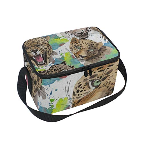 Lunch Tote Exotic Leopard Animal Watercolor Mens Insulated Lunch Bag Zipper Kids Lunch Box