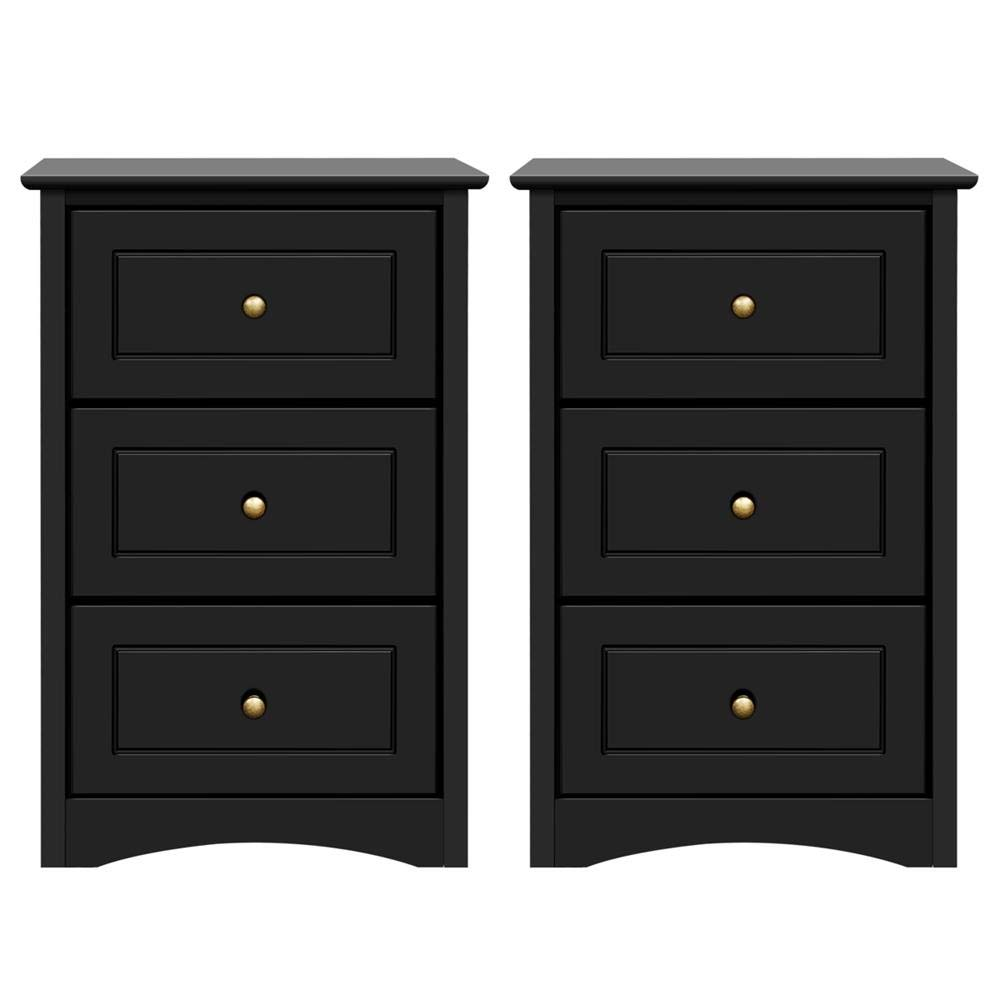 Yaheetech Tall Bedside Table Nightstand End Sofa Table with 3 Drawers - Storage Cabinet Bedroom, Set of 2, Black by Yaheetech