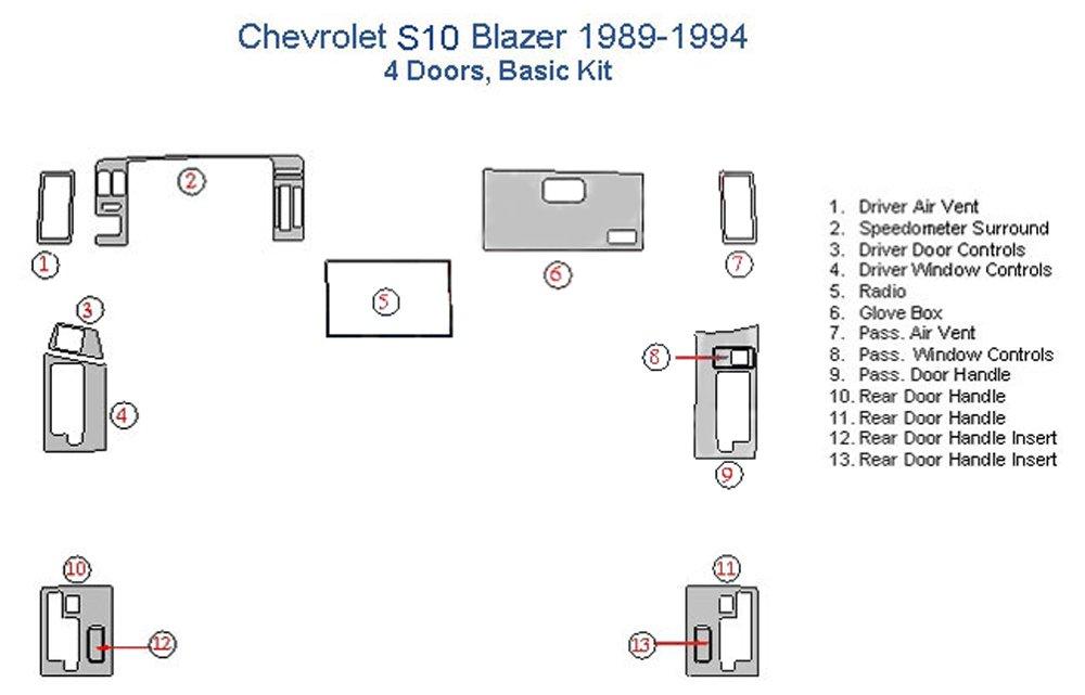 Chevrolet S10 Blazer Basic Dash Trim Kit, 4 Doors - Sunset Burlwood