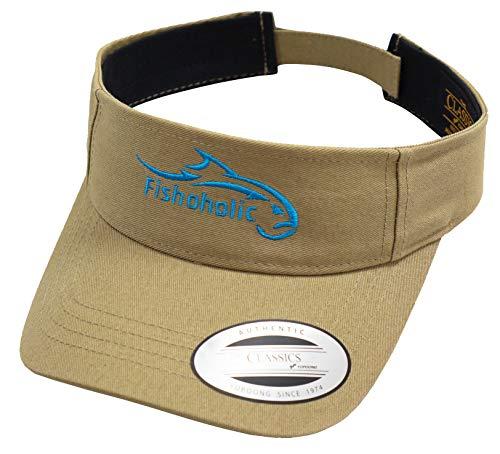 Fishoholic Flexfit Visor Khaki w Blue Logo for Women or Men Fishing Golfing Tennis Running Jogging Hiking Walking or Relaxing at Beach Lake River Ocean or Baseball -