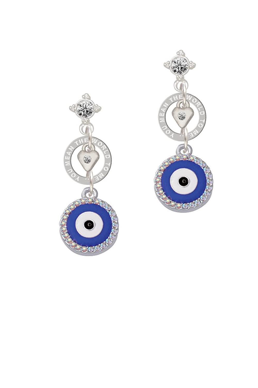 Large Blue Evil Eye with AB Crystal Border - You Mean the World Eternity Earring