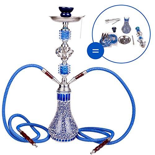 DXP 2 Hose 21.65' Hookah Shisha Pipe Narghile Party Smoking Set Blue