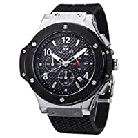 Voeons Men's Watches Chronograph 24 Hr Indicator Military Sports Watches Waterproof Silver Steel Case Quartz Silicone Big Dial Watches
