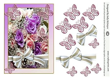 Purple Roses Butterflies And Bows By Sally Mcintyre Amazoncouk