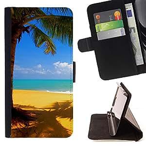 - Yellow beach - - Monedero PU titular de la tarjeta de cr????dito de cuero cubierta de la caja de la bolsa FOR Apple Iphone 6 PLUS 5.5 RetroCandy