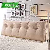 VClife Cotton Linen Filled Triangular Wedge Cushion Bed Backrest Positioning Support Pillow Reading Pillow Home Office Lumbar Pad with Removable Cover, King Bed Rest Pillows, Beige