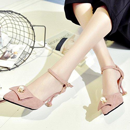 RUGAI-UE Sandalias de verano Tacones altos zapatos de mujer Pink