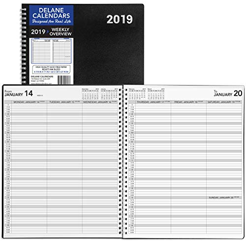 Clearance Sales! 2019 Appointment Book, Daily Hourly Planner, 8.5 x 11 inches, Premium Paper, Black, 12 Months (WP-001)