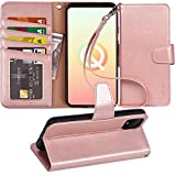 Arae Wallet Case for Google Pixel 4 PU Leather flip case Cover [Stand Feature] with Wrist Strap and [4-Slots] ID&Credit Cards Pocket for Google Pixel 4, Rose Gold