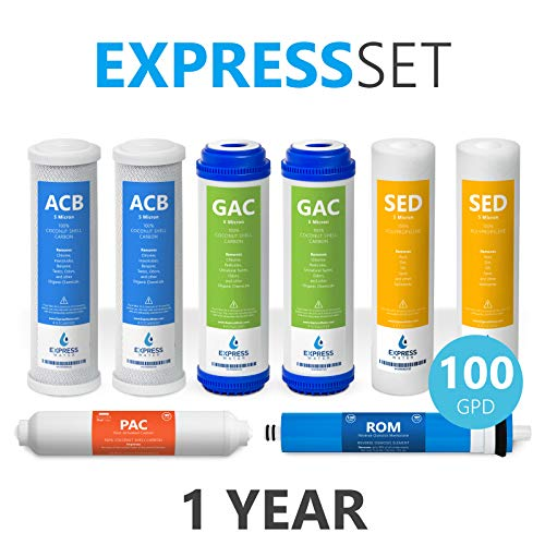 express-water-1-year-reverse-osmosis-system-replacement-filter-set-8-filters-with-100-gpd-ro-membrane-carbon-gac-acb-pac-filters-sediment-sed-filters-10-inch-size-water-filters