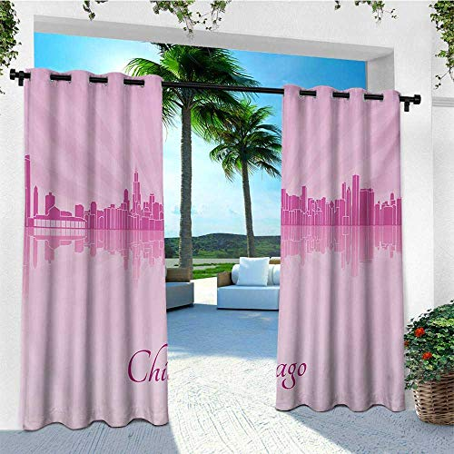 leinuoyi Chicago Skyline, Outdoor Curtain Wall, United States Scenery in Soft Tones Urban Downtown Illustration, for Patio Furniture W84 x L96 Inch Pale Pink Fuchsia (Garden Furniture Downtown)